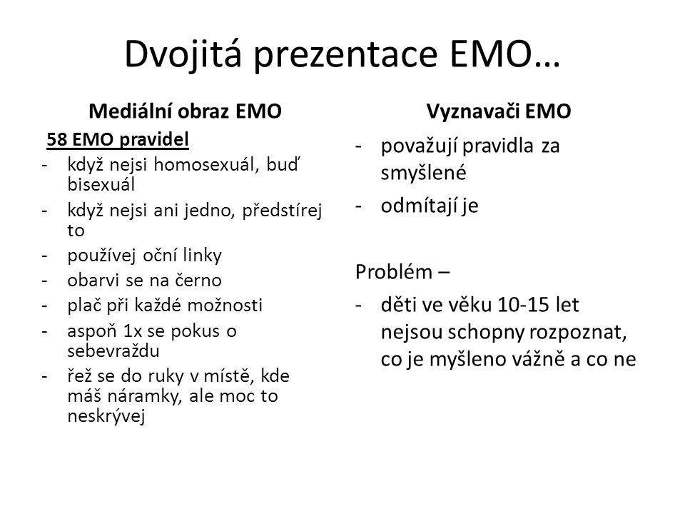 Dvojitá prezentace EMO… Mediální obraz EMO 58 EMO pravidel -když nejsi homosexuál, buď bisexuál -když nejsi ani jedno, předstírej to -používej oční li