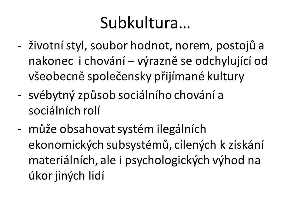 Subkultura… -životní styl, soubor hodnot, norem, postojů a nakonec i chování – výrazně se odchylující od všeobecně společensky přijímané kultury -svéb