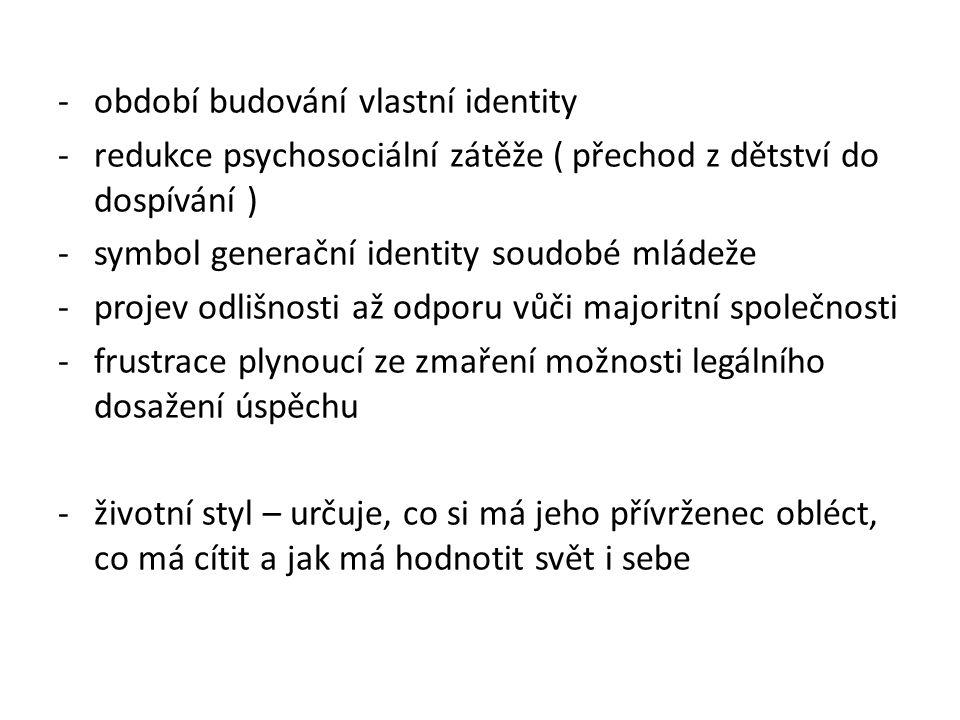 -období budování vlastní identity -redukce psychosociální zátěže ( přechod z dětství do dospívání ) -symbol generační identity soudobé mládeže -projev