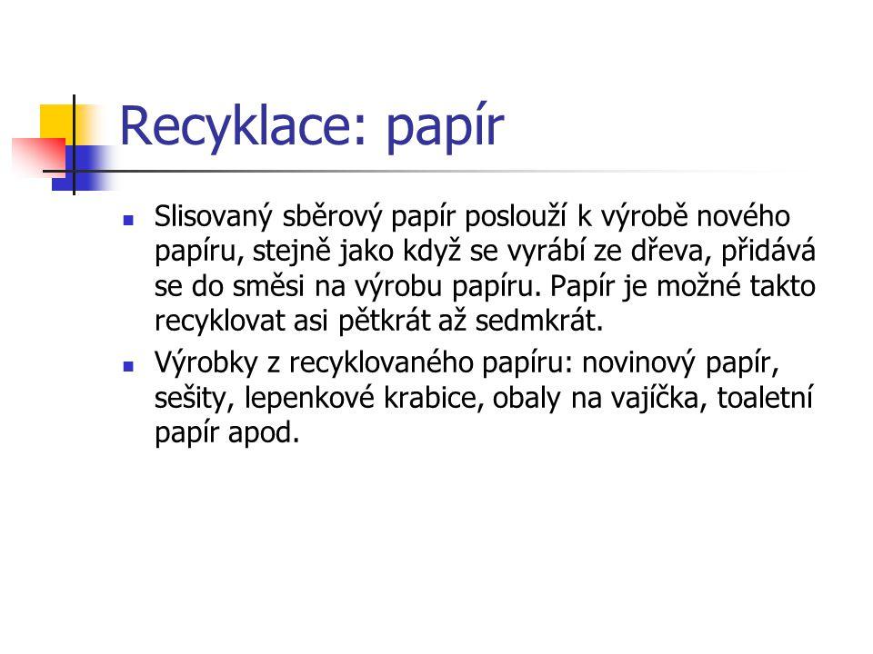 Recyklace: papír Slisovaný sběrový papír poslouží k výrobě nového papíru, stejně jako když se vyrábí ze dřeva, přidává se do směsi na výrobu papíru.
