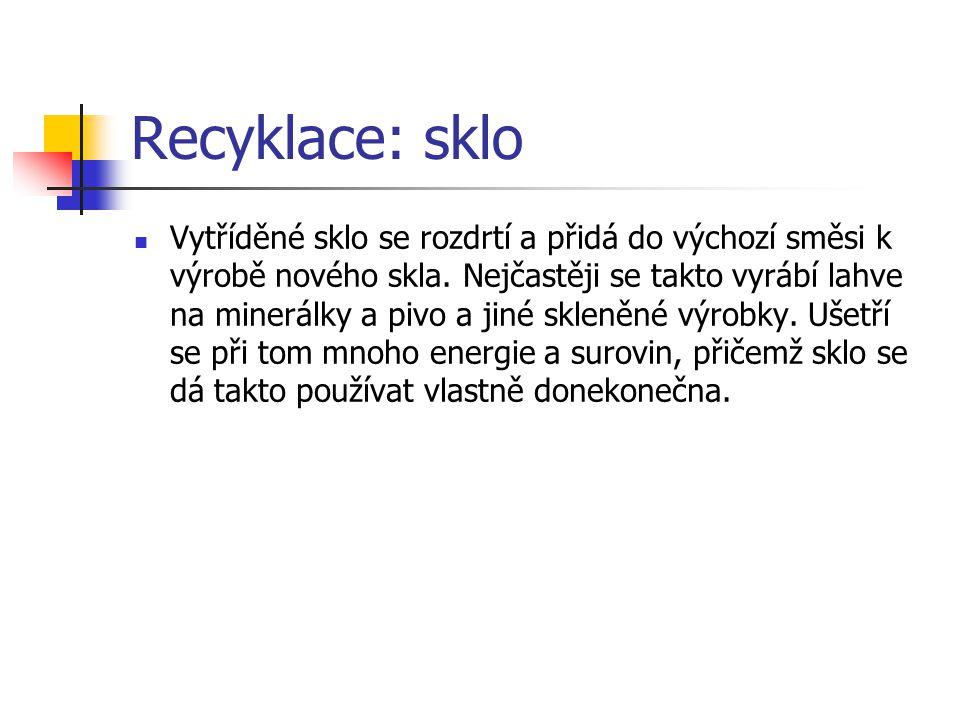 Recyklace: sklo Vytříděné sklo se rozdrtí a přidá do výchozí směsi k výrobě nového skla.
