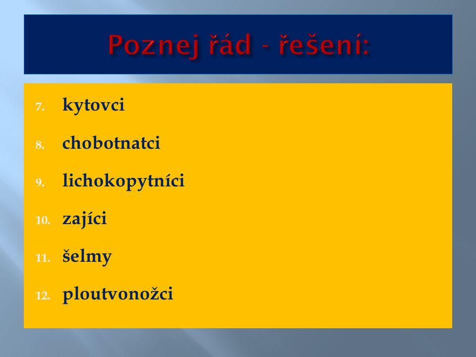 7. kytovci 8. chobotnatci 9. lichokopytníci 10. zajíci 11. šelmy 12. ploutvonožci