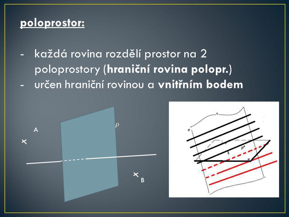 poloprostor: -každá rovina rozdělí prostor na 2 poloprostory (hraniční rovina polopr.) -určen hraniční rovinou a vnitřním bodem  A B