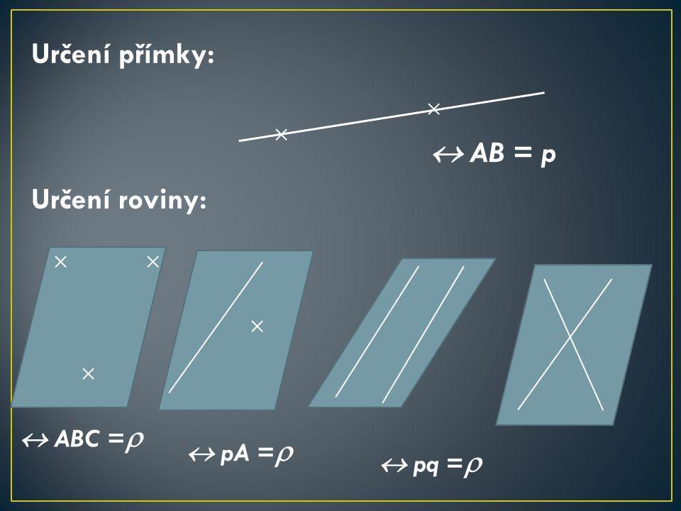 Určení přímky: Určení roviny:  AB = p  ABC =   pA =   pq = 