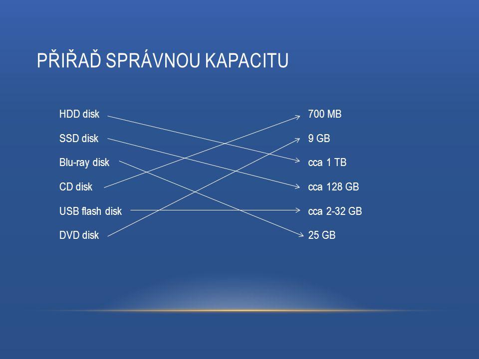 PŘIŘAĎ SPRÁVNOU KAPACITU 700 MB 9 GB cca 1 TB cca 128 GB cca 2-32 GB 25 GB HDD disk SSD disk Blu-ray disk CD disk USB flash disk DVD disk
