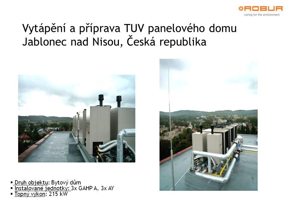 Vytápění a příprava TUV panelového domu Jablonec nad Nisou, Česká republika  Druh objektu: Bytový dům  Instalované jednotky: 3x GAHP A, 3x AY  Topný výkon: 215 kW