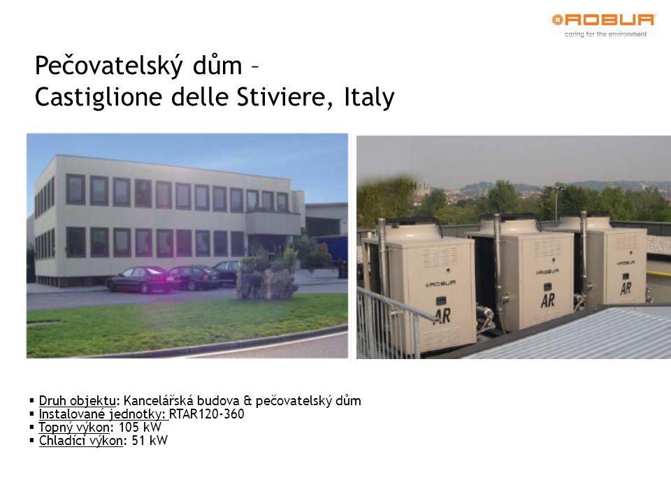 Pečovatelský dům – Castiglione delle Stiviere, Italy  Druh objektu: Kancelářská budova & pečovatelský dům  Instalované jednotky: RTAR120-360  Topný výkon: 105 kW  Chladící výkon: 51 kW