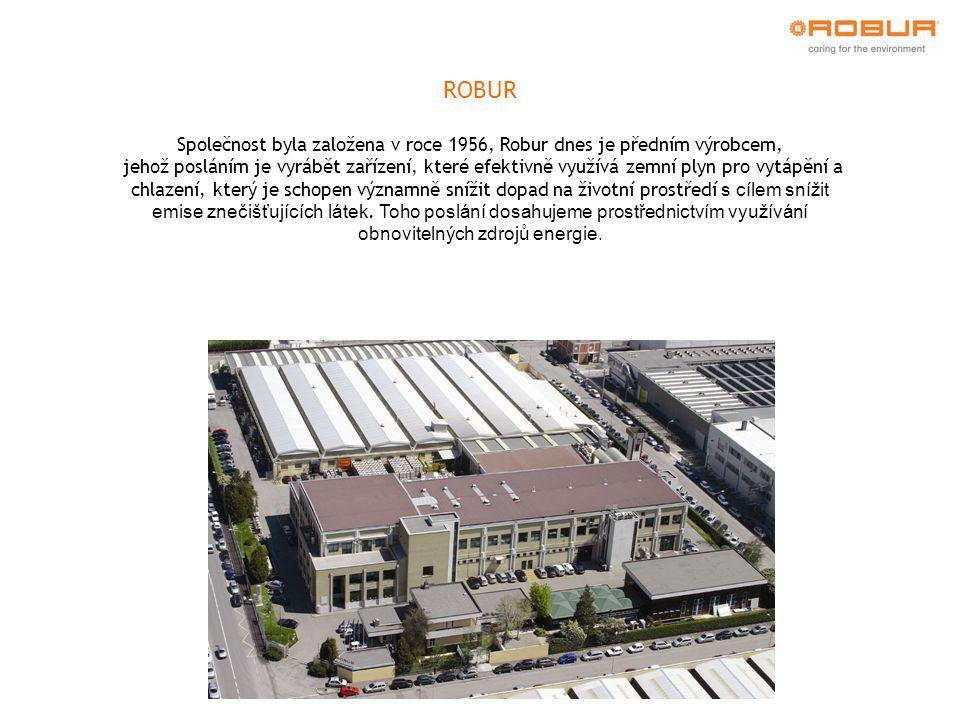 ROBUR Společnost byla založena v roce 1956, Robur dnes je předním výrobcem, jehož posláním je vyrábět zařízení, které efektivně využívá zemní plyn pro vytápění a chlazení, který je schopen významně snížit dopad na životní prostředí s cílem snížit emise znečišťujících látek.