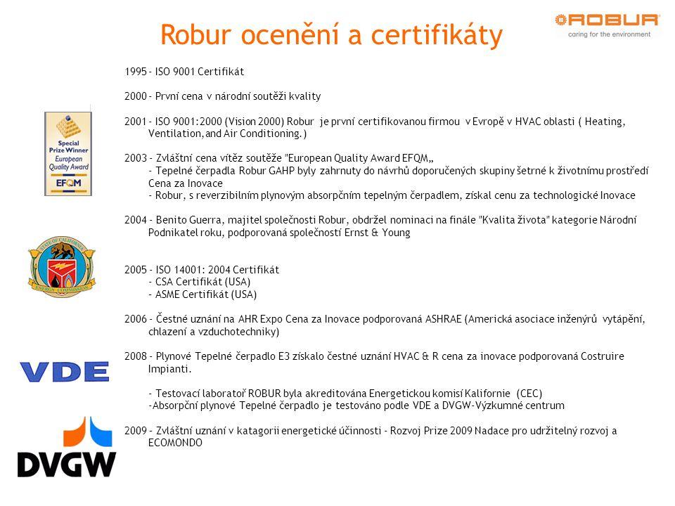 """1995- ISO 9001 Certifikát 2000- První cena v národní soutěži kvality 2001- ISO 9001:2000 (Vision 2000) Robur je první certifikovanou firmou v Evropě v HVAC oblasti ( Heating, Ventilation,and Air Conditioning.) 2003 - Zvláštní cena vítěz soutěže European Quality Award EFQM"""" - Tepelné čerpadla Robur GAHP byly zahrnuty do návrhů doporučených skupiny šetrné k životnímu prostředí Cena za Inovace - Robur, s reverzibilním plynovým absorpčním tepelným čerpadlem, získal cenu za technologické Inovace 2004 - Benito Guerra, majitel společnosti Robur, obdržel nominaci na finále Kvalita života kategorie Národní Podnikatel roku, podporovaná společností Ernst & Young 2005 - ISO 14001: 2004 Certifikát - CSA Certifikát (USA)  – ASME Certifikát (USA)  2006 - Čestné uznání na AHR Expo Cena za Inovace podporovaná ASHRAE (Americká asociace inženýrů vytápění, chlazení a vzduchotechniky) 2008 - Plynové Tepelné čerpadlo E3 získalo čestné uznání HVAC & R cena za inovace podporovaná Costruire Impianti."""