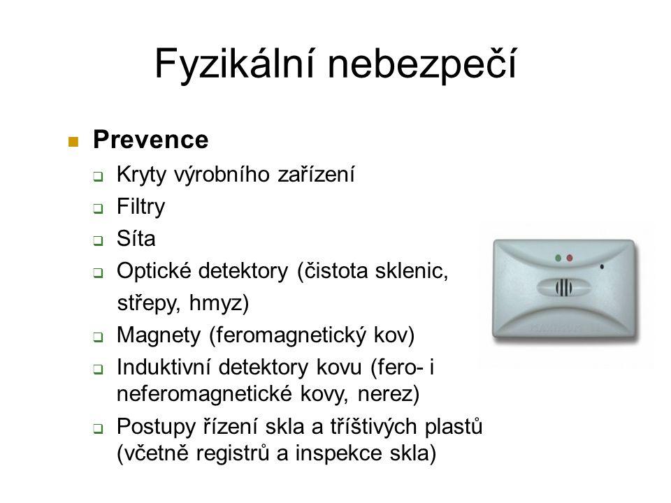 Prevence  Kryty výrobního zařízení  Filtry  Síta  Optické detektory (čistota sklenic, střepy, hmyz)  Magnety (feromagnetický kov)  Induktivní detektory kovu (fero- i neferomagnetické kovy, nerez)  Postupy řízení skla a tříštivých plastů (včetně registrů a inspekce skla) Fyzikální nebezpečí