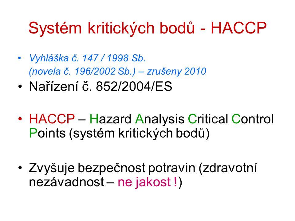 HACCP Povinnost zavést HACCP : ~ prvovýroba ~ výroba potravin ~ prodej potravin ~ hromadné stravování Výjimka – malí výrobci, prvovýroba – lze nahradit SHP (vzájemná provázanost a zastupitelnost, flexibilita)