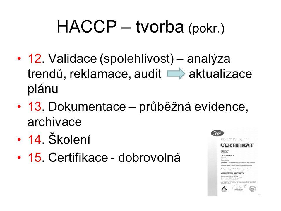HACCP – tvorba (pokr.) 12.