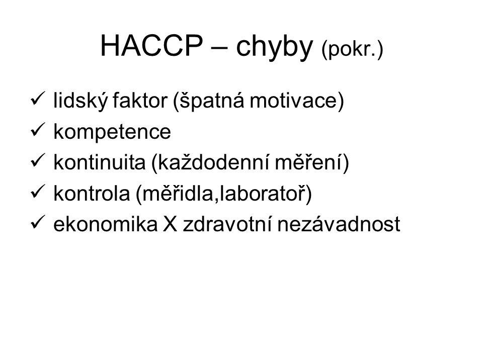 HACCP – chyby (pokr.) lidský faktor (špatná motivace) kompetence kontinuita (každodenní měření) kontrola (měřidla,laboratoř) ekonomika X zdravotní nezávadnost
