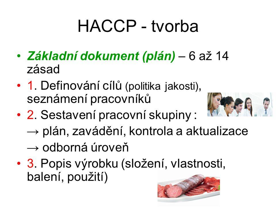 HACCP – tvorba (pokr.) 8.Stanovení kriterií (závazných) : * veličina (např.