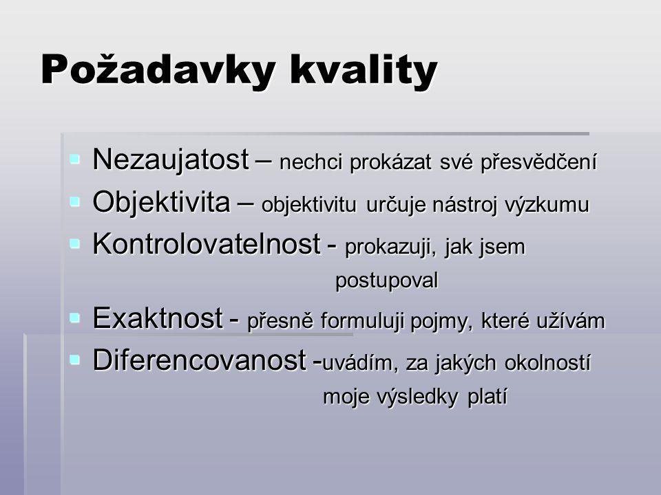 Požadavky kvality  Nezaujatost – nechci prokázat své přesvědčení  Objektivita – objektivitu určuje nástroj výzkumu  Kontrolovatelnost - prokazuji,