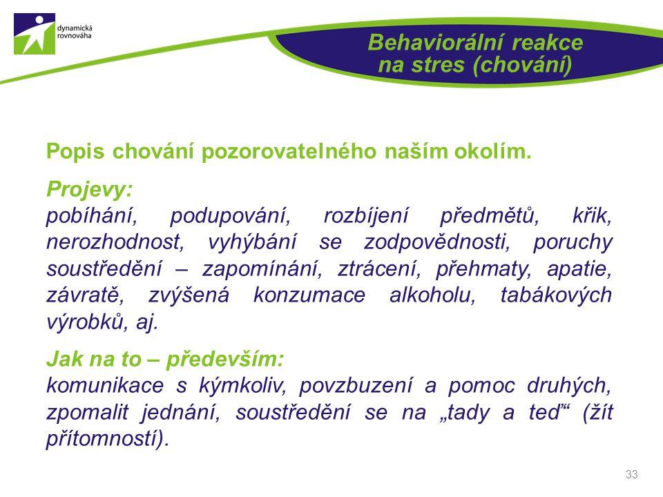 33 Behaviorální reakce na stres (chování) Popis chování pozorovatelného naším okolím.