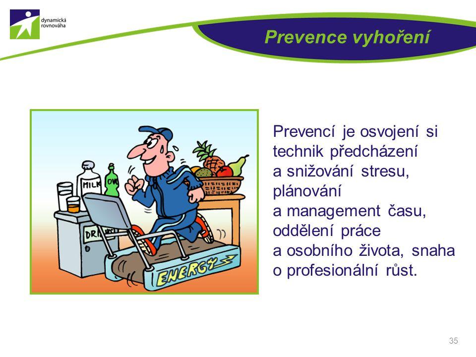 35 Prevence vyhoření Prevencí je osvojení si technik předcházení a snižování stresu, plánování a management času, oddělení práce a osobního života, snaha o profesionální růst.