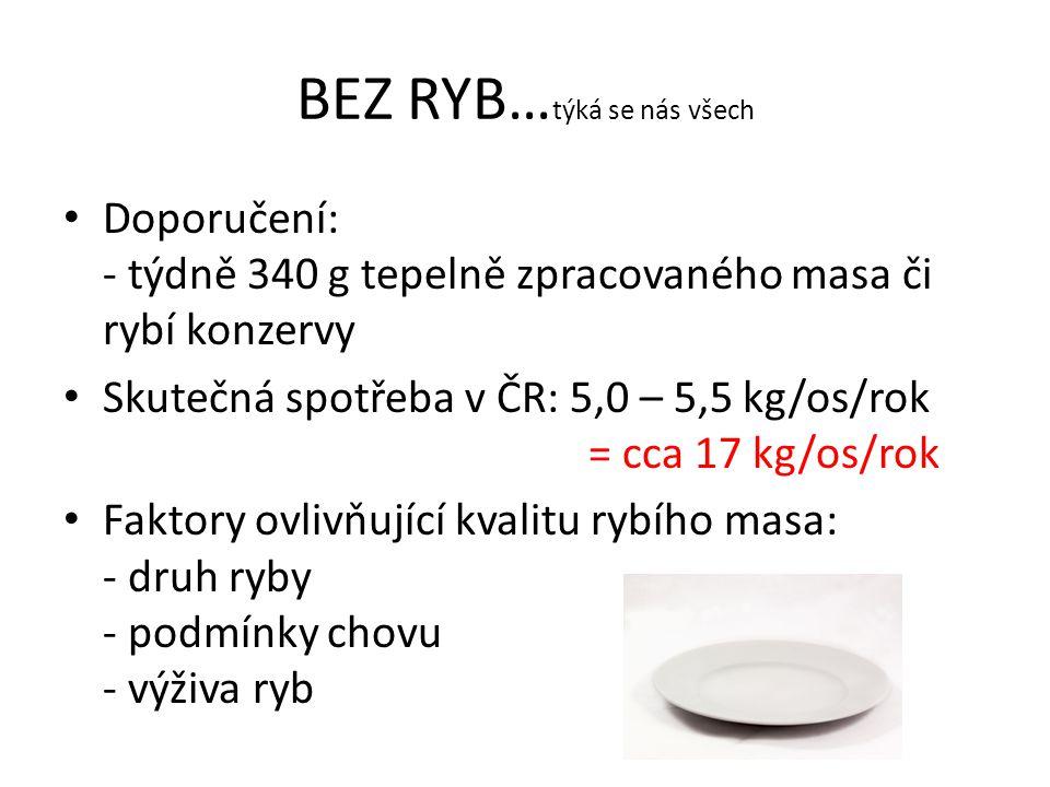 BEZ RYB… týká se nás všech Doporučení: - týdně 340 g tepelně zpracovaného masa či rybí konzervy Skutečná spotřeba v ČR: 5,0 – 5,5 kg/os/rok = cca 17 kg/os/rok Faktory ovlivňující kvalitu rybího masa: - druh ryby - podmínky chovu - výživa ryb