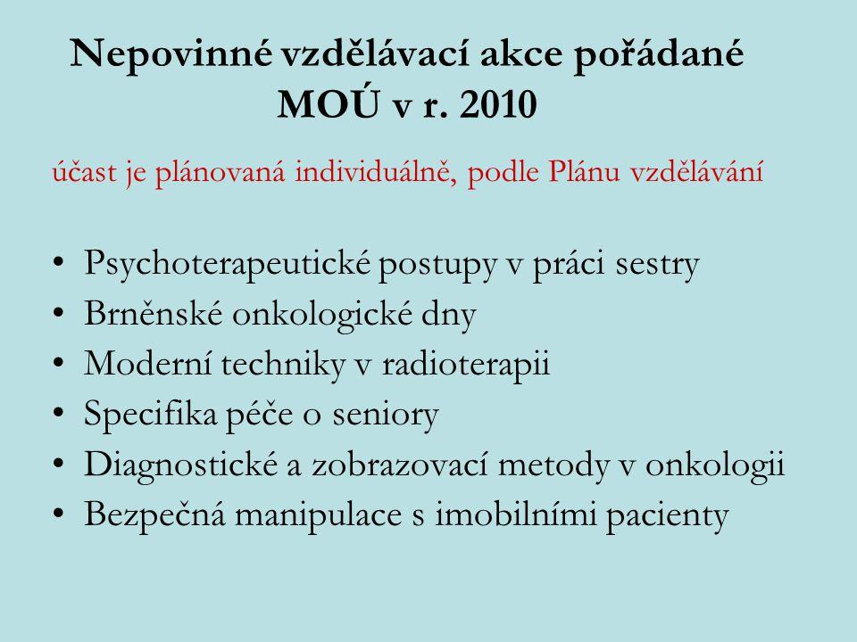 Nepovinné vzdělávací akce pořádané MOÚ v r. 2010 účast je plánovaná individuálně, podle Plánu vzdělávání Psychoterapeutické postupy v práci sestry Brn