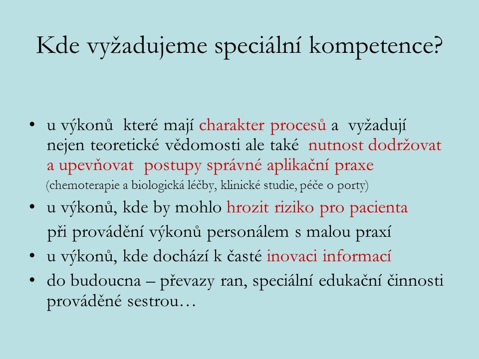 Kde vyžadujeme speciální kompetence? u výkonů které mají charakter procesů a vyžadují nejen teoretické vědomosti ale také nutnost dodržovat a upevňova