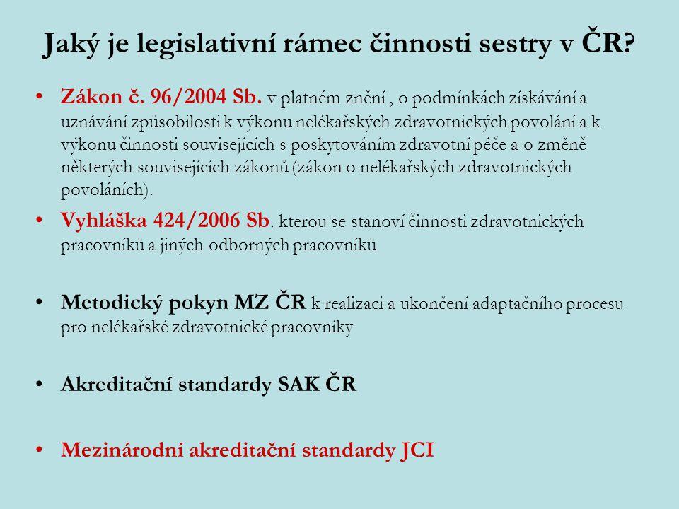 Jaký je legislativní rámec činnosti sestry v ČR? Zákon č. 96/2004 Sb. v platném znění, o podmínkách získávání a uznávání způsobilosti k výkonu nelékař