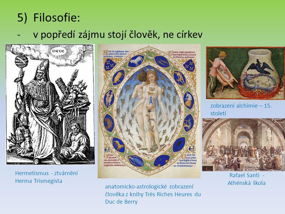 5)Filosofie: -v popředí zájmu stojí člověk, ne církev Hermetismus - ztvárnění Herma Trismegista anatomicko-astrologické zobrazení člověka z knihy Très