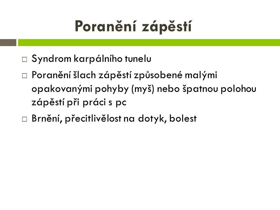 Poranění zápěstí  Syndrom karpálního tunelu  Poranění šlach zápěstí způsobené malými opakovanými pohyby (myš) nebo špatnou polohou zápěstí při práci