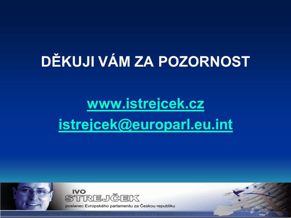 DĚKUJI VÁM ZA POZORNOST www.istrejcek.cz istrejcek@europarl.eu.int