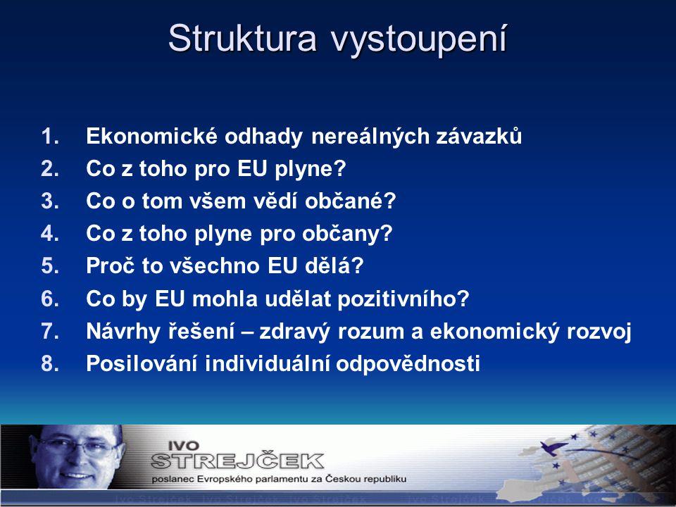 Struktura vystoupení 1.Ekonomické odhady nereálných závazků 2.Co z toho pro EU plyne.