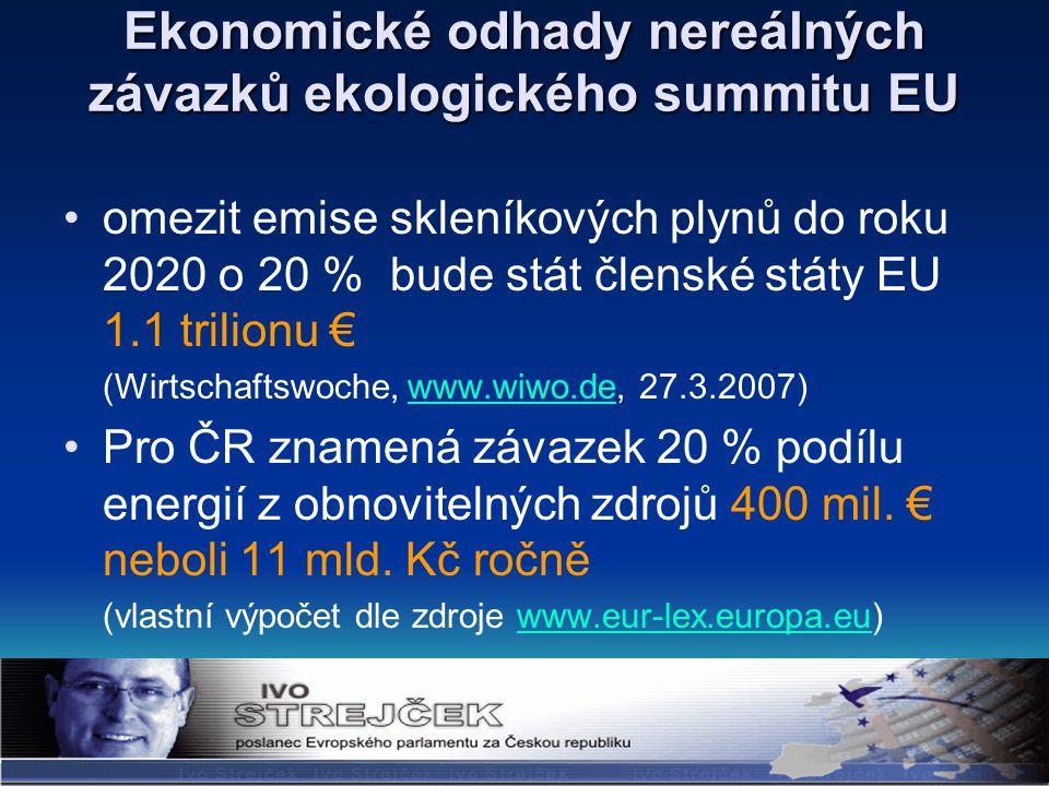 Ekonomické odhady nereálných závazků ekologického summitu EU omezit emise skleníkových plynů do roku 2020 o 20 % bude stát členské státy EU 1.1 trilionu € (Wirtschaftswoche, www.wiwo.de, 27.3.2007)www.wiwo.de Pro ČR znamená závazek 20 % podílu energií z obnovitelných zdrojů 400 mil.
