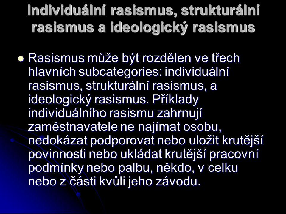 Individuální rasismus, strukturální rasismus a ideologický rasismus Rasismus může být rozdělen ve třech hlavních subcategories: individuální rasismus, strukturální rasismus, a ideologický rasismus.