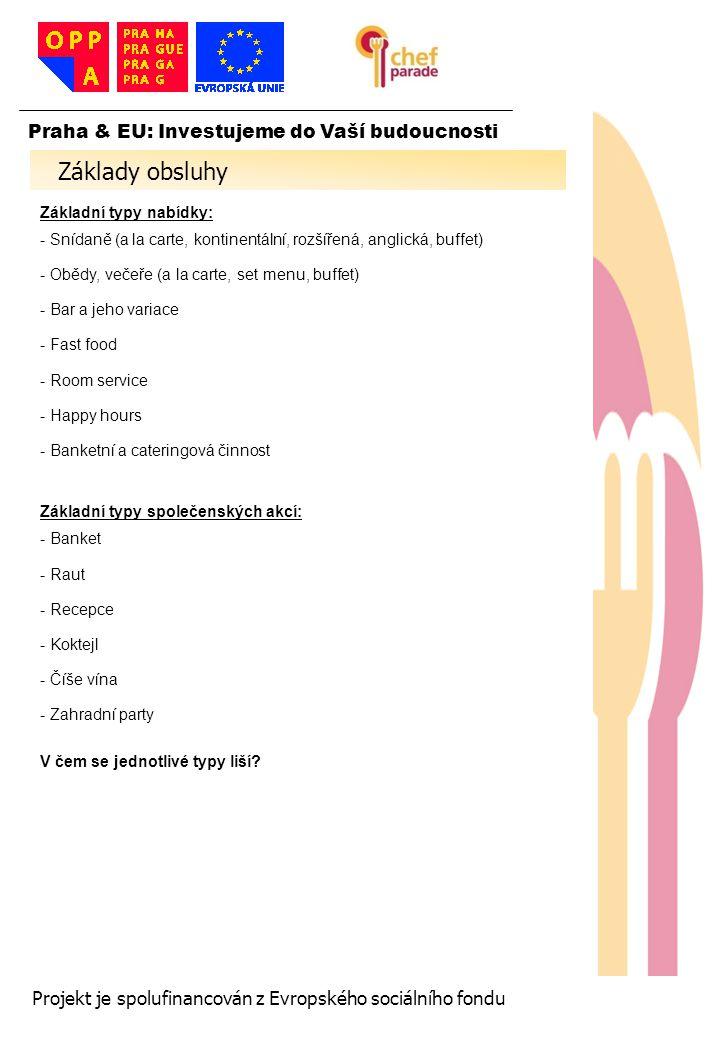 20 Praha & EU: Investujeme do Vaší budoucnosti Projekt je spolufinancován z Evropského sociálního fondu Konflikt a jeho typy - Rozdíl - Rozpor - Konfliktní situace -Konflikt Rozpor – nejčastější stádium problémů v gastronomii Postup při řešení stížnosti: - Pozorně poslouchej, snaž se hosta pochopit - Neskákej mu do řeči a nezvyšuj hlas - Buď vůči problému hosta empatický - Analyzuj situaci před tím, než zaujmeš stanovisko - Navrhni nejvhodnější (pro provozovnu) řešení problému a nech hostovi prostor se k němu vyjádřit - Pamatuj: Správně podaná omluva vyřeší spoustu situací - Dohodni se s hostem na konečném řešení - Poděkuj mu za trpělivost -Dohlídni na bezchybnou realizaci řešení Reakce na konflikt - Agrese - Identifikace - Obsese - Únik - Regrese - Izolace - Rezignace