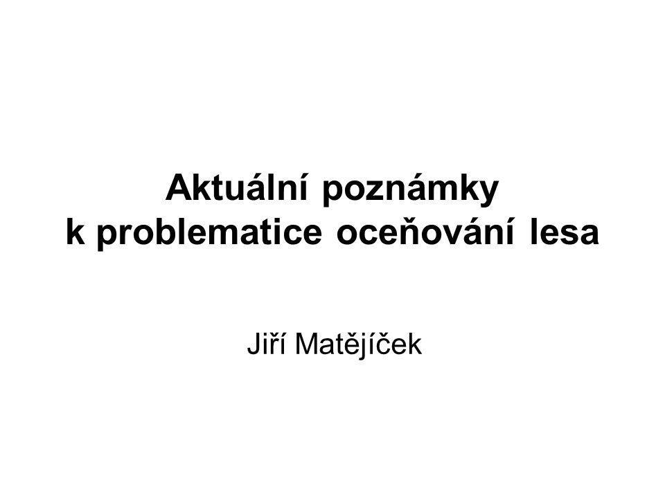 Aktuální poznámky k problematice oceňování lesa Jiří Matějíček