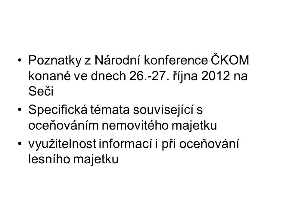 Poznatky z Národní konference ČKOM konané ve dnech 26.-27. října 2012 na Seči Specifická témata související s oceňováním nemovitého majetku využitelno