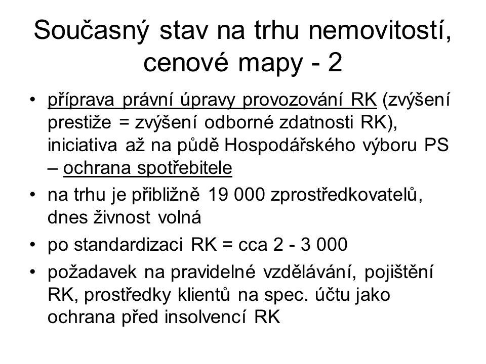 Současný stav na trhu nemovitostí, cenové mapy - 2 příprava právní úpravy provozování RK (zvýšení prestiže = zvýšení odborné zdatnosti RK), iniciativa