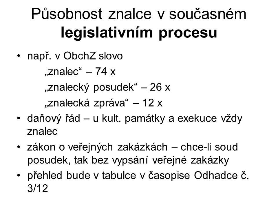 """Působnost znalce v současném legislativním procesu např. v ObchZ slovo """"znalec"""" – 74 x """"znalecký posudek"""" – 26 x """"znalecká zpráva"""" – 12 x daňový řád –"""