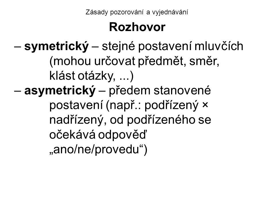 Zásady pozorování a vyjednávání Rozhovor – symetrický – stejné postavení mluvčích (mohou určovat předmět, směr, klást otázky,...) – asymetrický – před