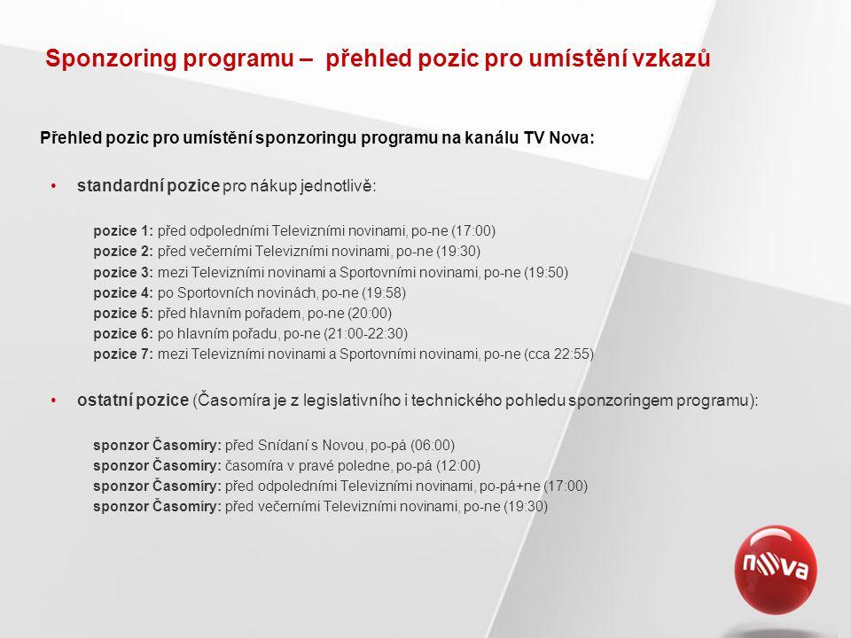 Sponzoring programu – přehled pozic pro umístění vzkazů Přehled pozic pro umístění sponzoringu programu na kanálu TV Nova: standardní pozice pro nákup