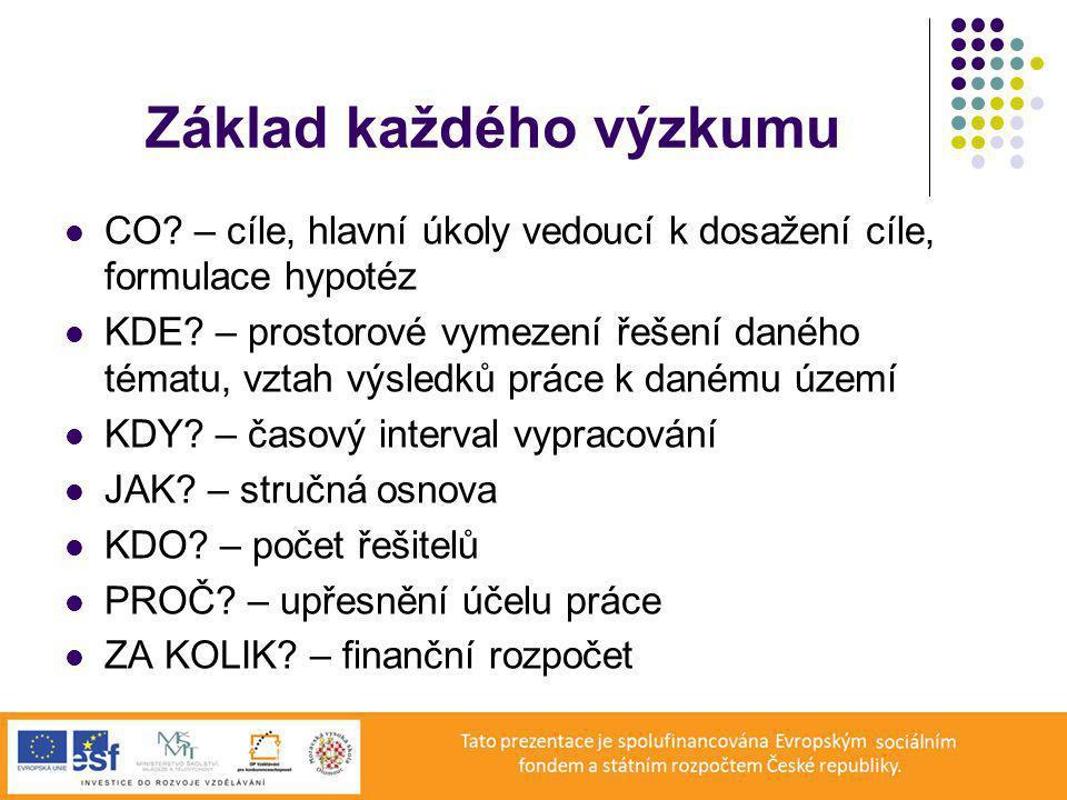 Základ každého výzkumu CO.– cíle, hlavní úkoly vedoucí k dosažení cíle, formulace hypotéz KDE.