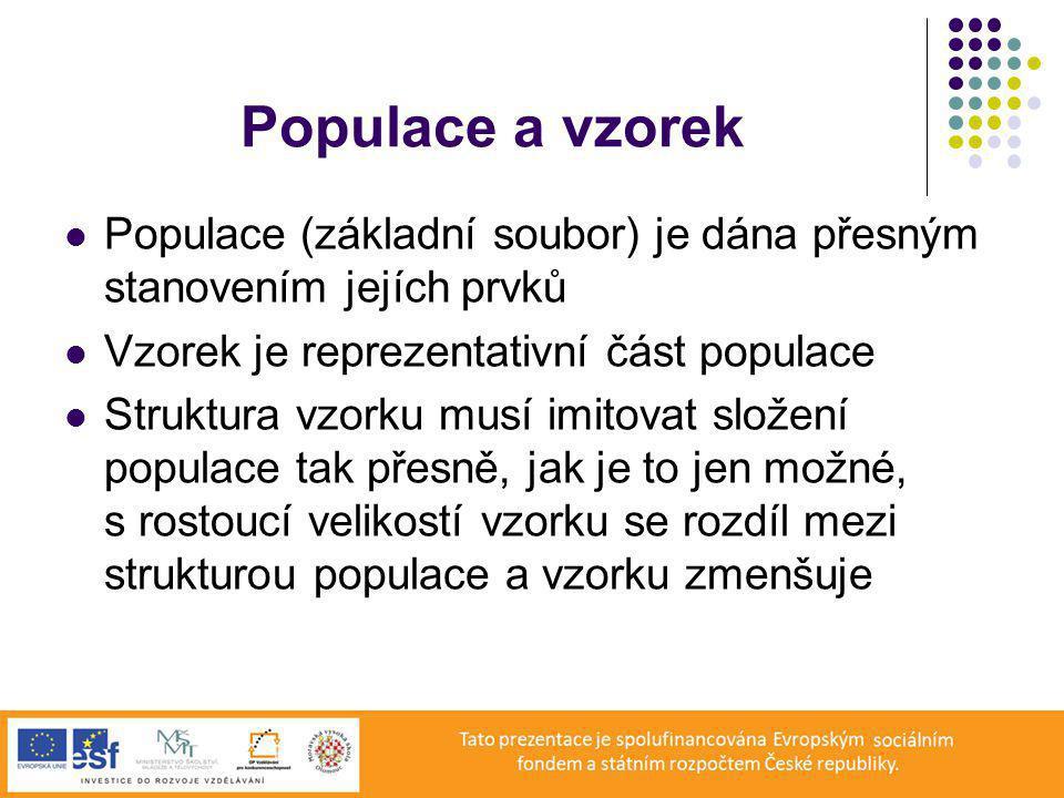 Populace a vzorek Populace (základní soubor) je dána přesným stanovením jejích prvků Vzorek je reprezentativní část populace Struktura vzorku musí imitovat složení populace tak přesně, jak je to jen možné, s rostoucí velikostí vzorku se rozdíl mezi strukturou populace a vzorku zmenšuje