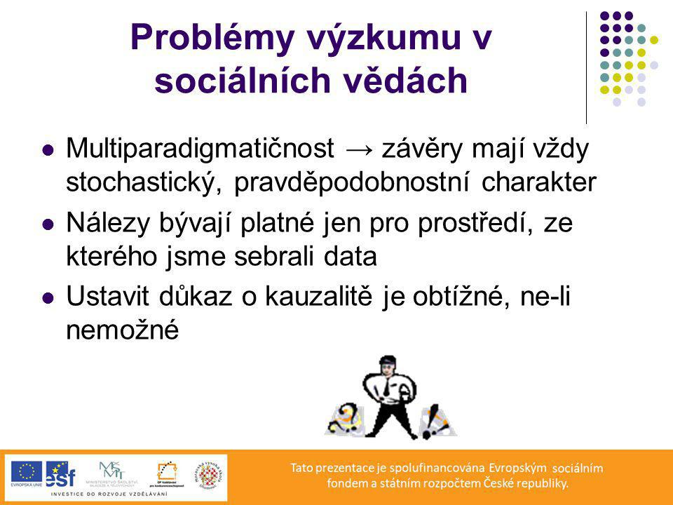 Problémy výzkumu v sociálních vědách Multiparadigmatičnost → závěry mají vždy stochastický, pravděpodobnostní charakter Nálezy bývají platné jen pro prostředí, ze kterého jsme sebrali data Ustavit důkaz o kauzalitě je obtížné, ne-li nemožné