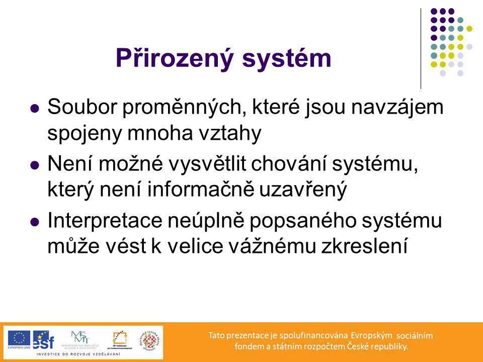 Přirozený systém Soubor proměnných, které jsou navzájem spojeny mnoha vztahy Není možné vysvětlit chování systému, který není informačně uzavřený Interpretace neúplně popsaného systému může vést k velice vážnému zkreslení