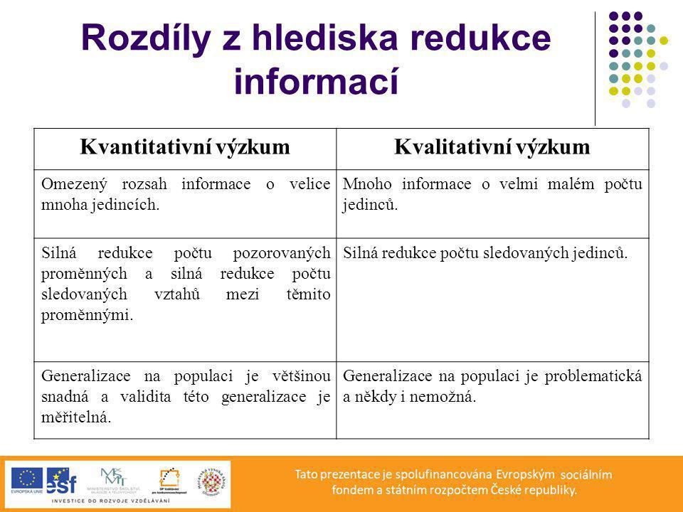 Rozdíly z hlediska redukce informací Kvantitativní výzkumKvalitativní výzkum Omezený rozsah informace o velice mnoha jedincích.