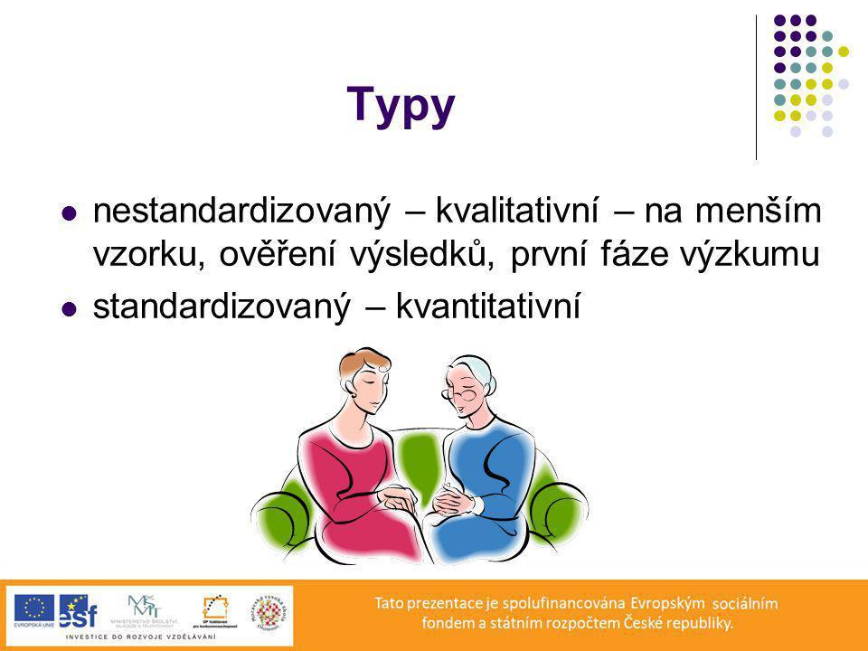 Typy nestandardizovaný – kvalitativní – na menším vzorku, ověření výsledků, první fáze výzkumu standardizovaný – kvantitativní