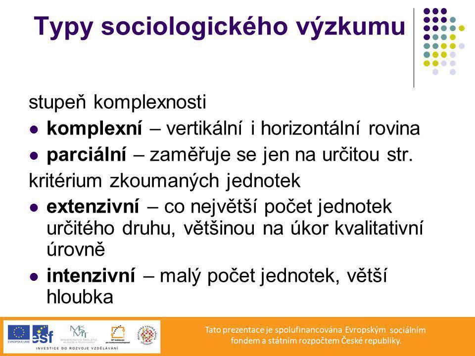 Typy sociologického výzkumu stupeň komplexnosti komplexní – vertikální i horizontální rovina parciální – zaměřuje se jen na určitou str.