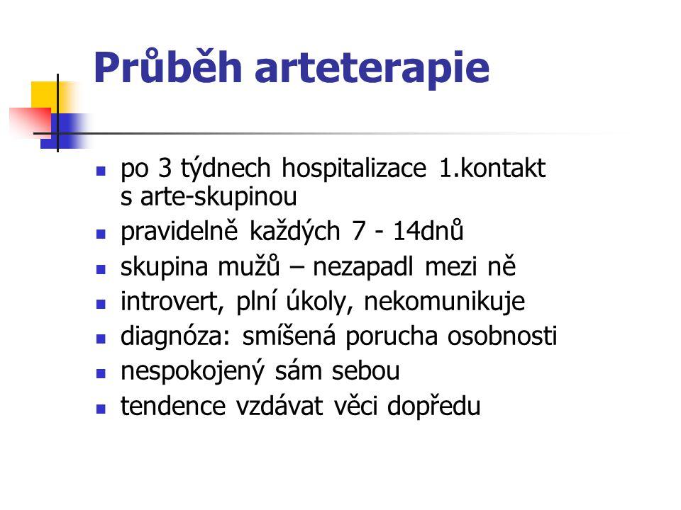 Průběh arteterapie po 3 týdnech hospitalizace 1.kontakt s arte-skupinou pravidelně každých 7 - 14dnů skupina mužů – nezapadl mezi ně introvert, plní ú