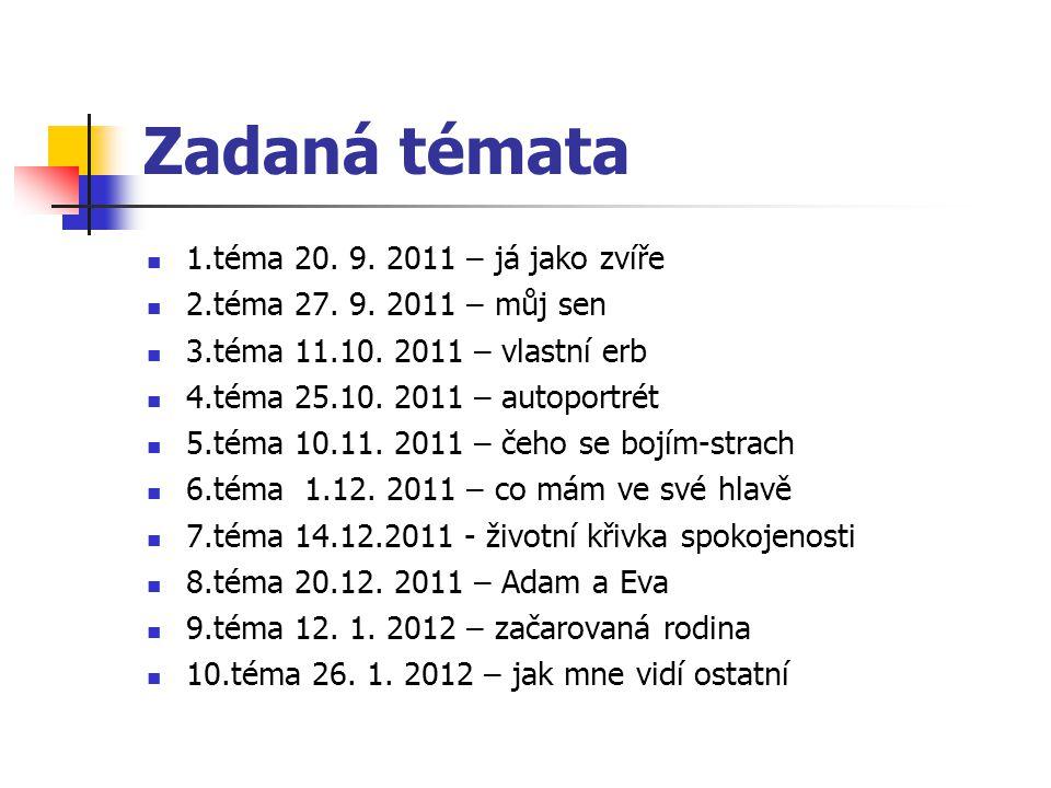 Zadaná témata 1.téma 20. 9. 2011 – já jako zvíře 2.téma 27. 9. 2011 – můj sen 3.téma 11.10. 2011 – vlastní erb 4.téma 25.10. 2011 – autoportrét 5.téma