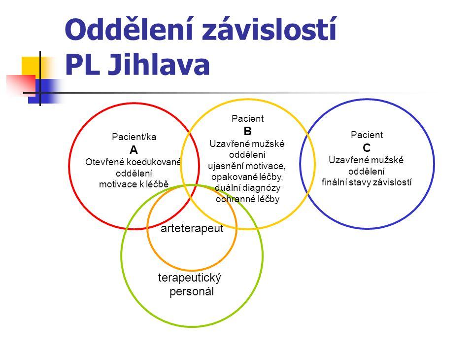 Oddělení závislostí PL Jihlava Pacient/ka A Otevřené koedukované oddělení motivace k léčbě Pacient C Uzavřené mužské oddělení finální stavy závislostí