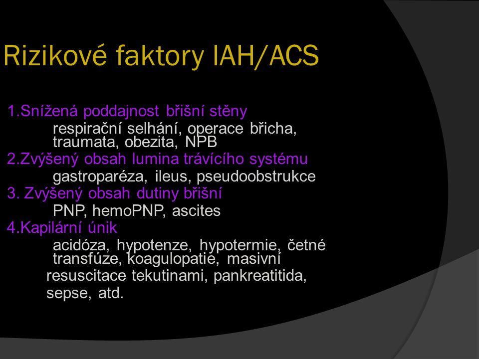 Rizikové faktory IAH/ACS 1.Snížená poddajnost břišní stěny respirační selhání, operace břicha, traumata, obezita, NPB 2.Zvýšený obsah lumina trávícího
