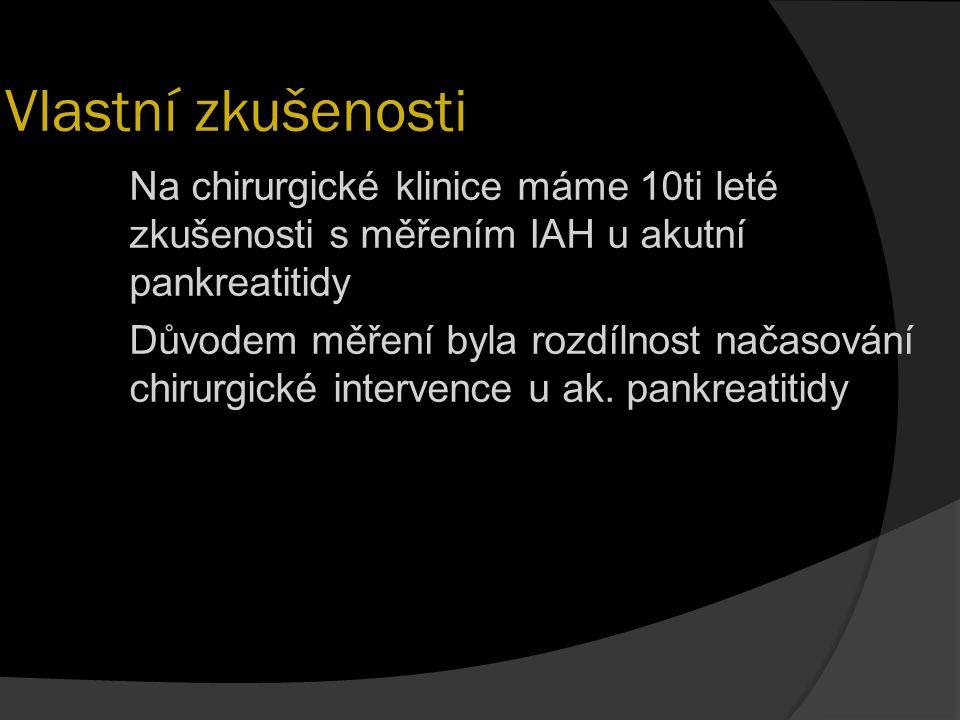Vlastní zkušenosti Na chirurgické klinice máme 10ti leté zkušenosti s měřením IAH u akutní pankreatitidy Důvodem měření byla rozdílnost načasování chi